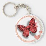 Mariposa rosada y llave bonita de los corazones/ca llavero