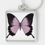 Mariposa rosada y negra grande - personalice llaveros