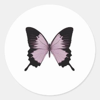 Mariposa rosada y negra grande - personalice etiqueta