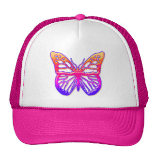 Mariposa rosada y púrpura gorra