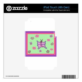 Mariposa rosada y púrpura iPod touch 4G skin