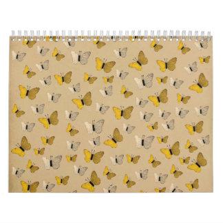 Mariposa rústica del amarillo del oro de las calendario de pared