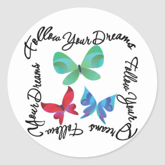 Mariposa - siga sus sueños pegatina redonda