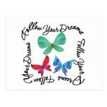 Mariposa - siga sus sueños tarjetas postales