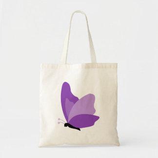 Mariposa simple - púrpura bolsa tela barata