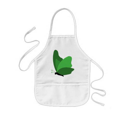 Mariposa simple - verde delantal infantil