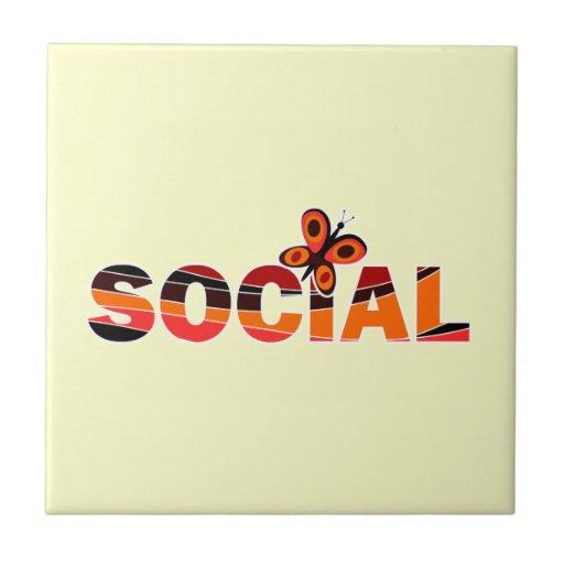Mariposa social azulejo cuadrado pequeño