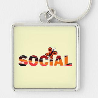 Mariposa social llavero cuadrado plateado