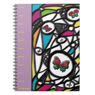Mariposa social púrpura de Aliya Leigh Libro De Apuntes Con Espiral