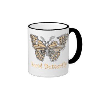 Mariposa social taza de dos colores