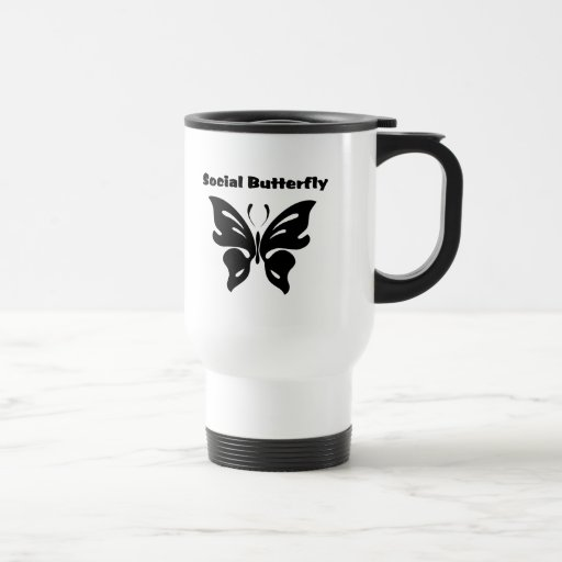 Mariposa social taza de viaje