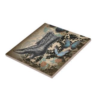 Mariposa sofisticada del zapato del cordón de Parí Azulejo Cuadrado Pequeño