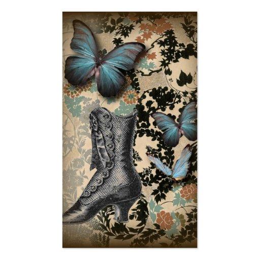 Mariposa sofisticada del zapato del cordón de tarjetas de visita