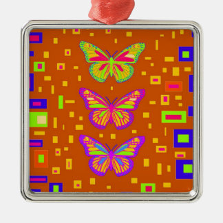 Mariposa Southwest Orage Gifts by Sharles Square Metal Christmas Ornament