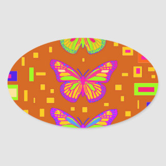 Mariposa Southwest Orage Gifts by Sharles Oval Sticker
