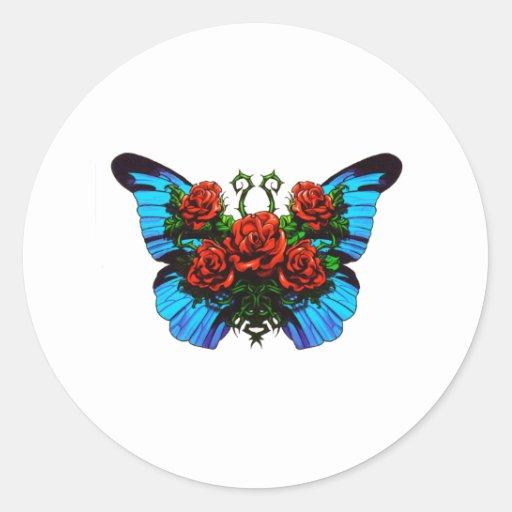 Mariposa subió pegatina redonda