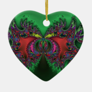 Mariposa surrealista adorno navideño de cerámica en forma de corazón