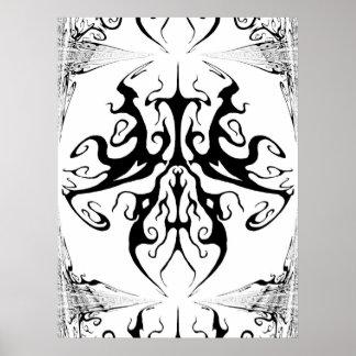 Mariposa surrealista del tatuaje tribal posters