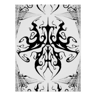 Mariposa surrealista del tatuaje tribal póster