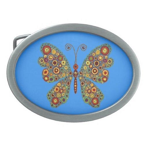 Mariposa terrosa hebillas cinturón ovales