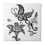 Mariposa tribal blanco y negro azulejo cerámica