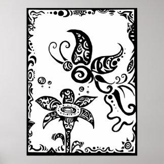 Mariposa tribal blanco y negro póster
