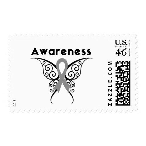 Mariposa tribal de la conciencia de la diabetes sellos