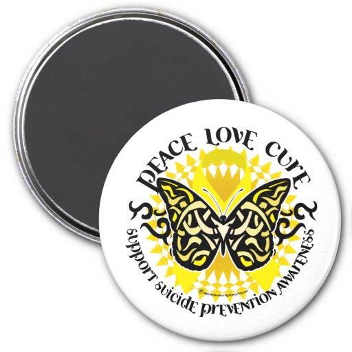 Mariposa tribal de la prevención del suicidio imán redondo 7 cm