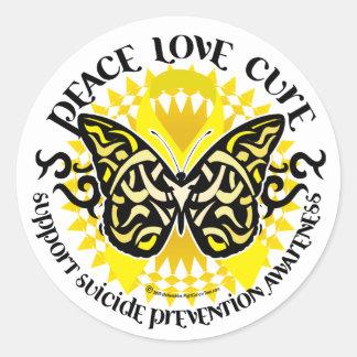Mariposa tribal de la prevención del suicidio pegatina redonda