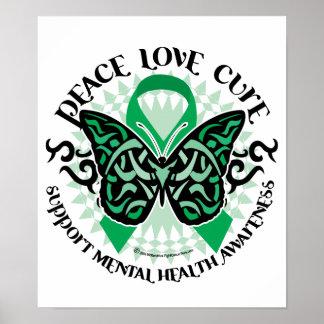Mariposa tribal de la salud mental poster