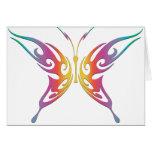Mariposa tribal del arco iris tarjetas