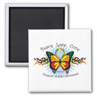 Mariposa tribal del autismo imán cuadrado