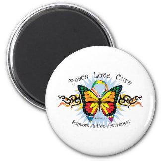 Mariposa tribal del autismo imán redondo 5 cm