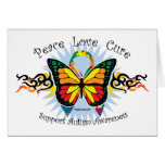 Mariposa tribal del autismo tarjetón