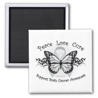 Mariposa tribal del cáncer de cerebro imán cuadrado