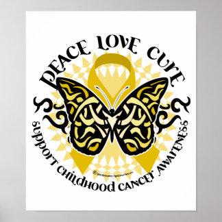Mariposa tribal del cáncer de la niñez póster