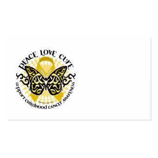 Mariposa tribal del cáncer de la niñez tarjetas de visita