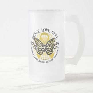 Mariposa tribal del cáncer de la niñez taza de cristal
