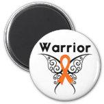Mariposa tribal del guerrero de la leucemia iman de nevera