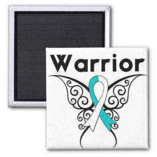 Mariposa tribal del guerrero del cáncer de cuello imanes para frigoríficos