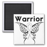 Mariposa tribal del guerrero del cáncer de pulmón imanes de nevera