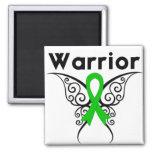 Mariposa tribal del guerrero del cáncer del riñón iman de nevera