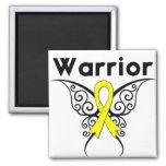 Mariposa tribal del guerrero del cáncer del sarcom iman de frigorífico