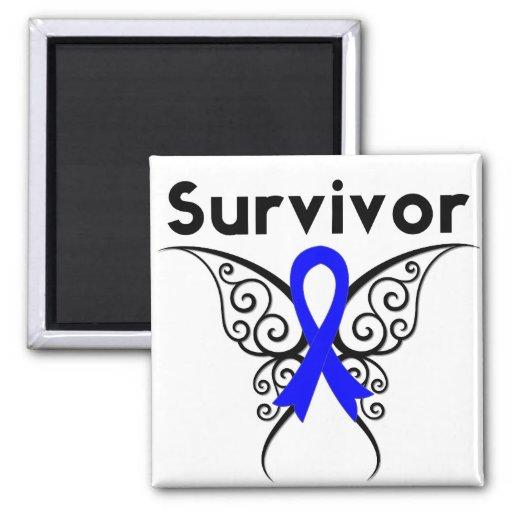 Mariposa tribal del superviviente del cáncer de co imán de nevera