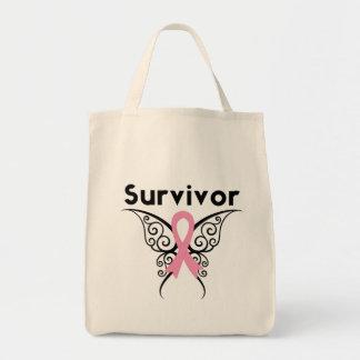 Mariposa tribal del superviviente del cáncer de pe bolsa tela para la compra