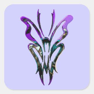 Mariposa tribal metálica de las reflexiones pegatina cuadrada