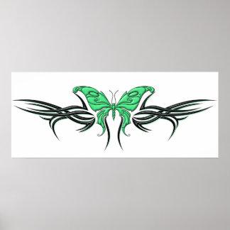 Mariposa tribal póster