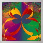 Mariposa tropical del fractal posters