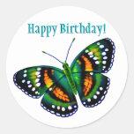 Mariposa tropical del verde del trullo del feliz pegatina redonda