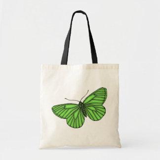 Mariposa verde bolsa lienzo
